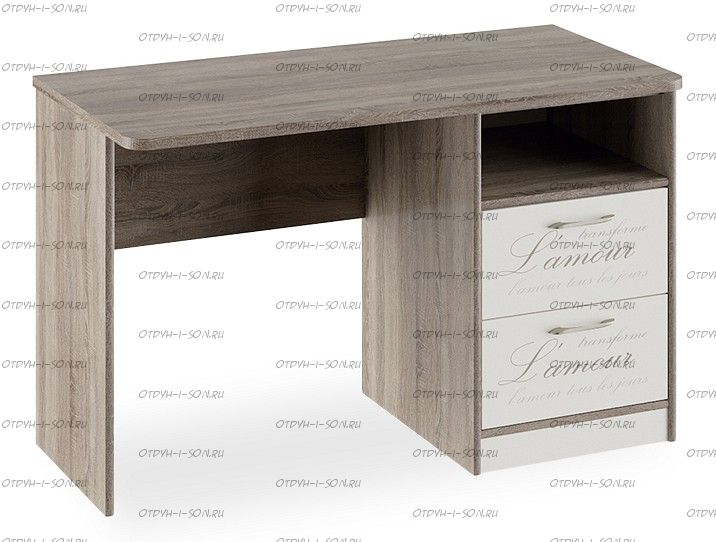 Стол с ящиками Брауни (Фон бежевый с рисунком/Дуб Сонома трюфель) ТД-313.15.02