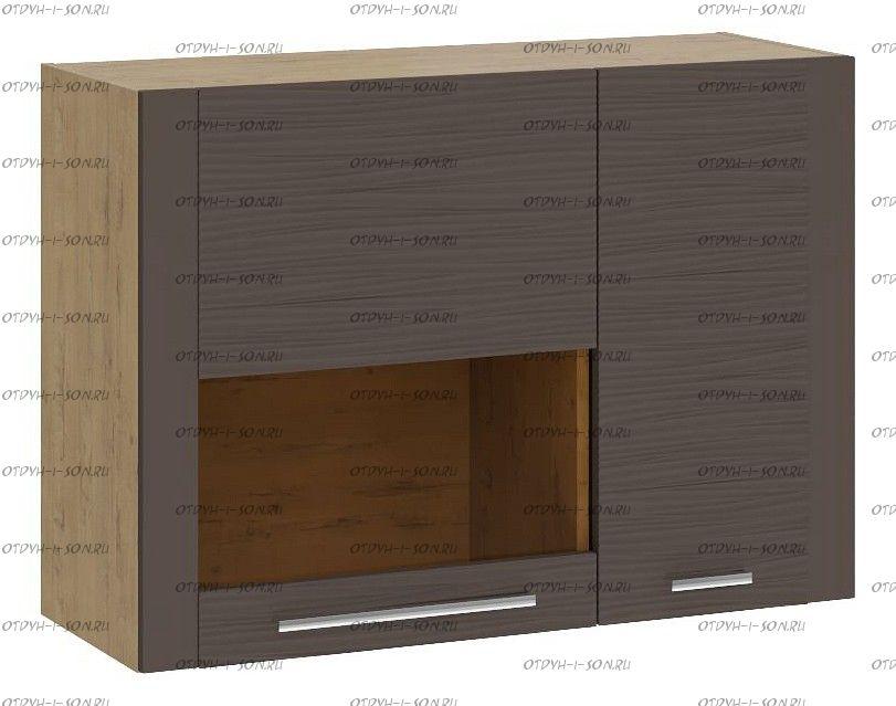 Шкаф настенный малый с 2 дверями Николь ТД-296.03.33 Бунратти/Фон Коричневый