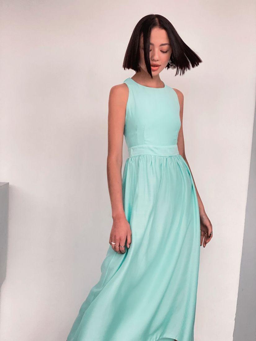 """4397 Платье с перекрещенными бретелями в цвете """"ментол"""""""