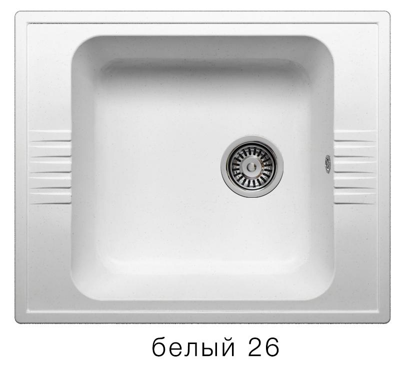 Мойка кухонная POLYGRAN F-20 мраморная (F-20 Цвет Белый (№26))