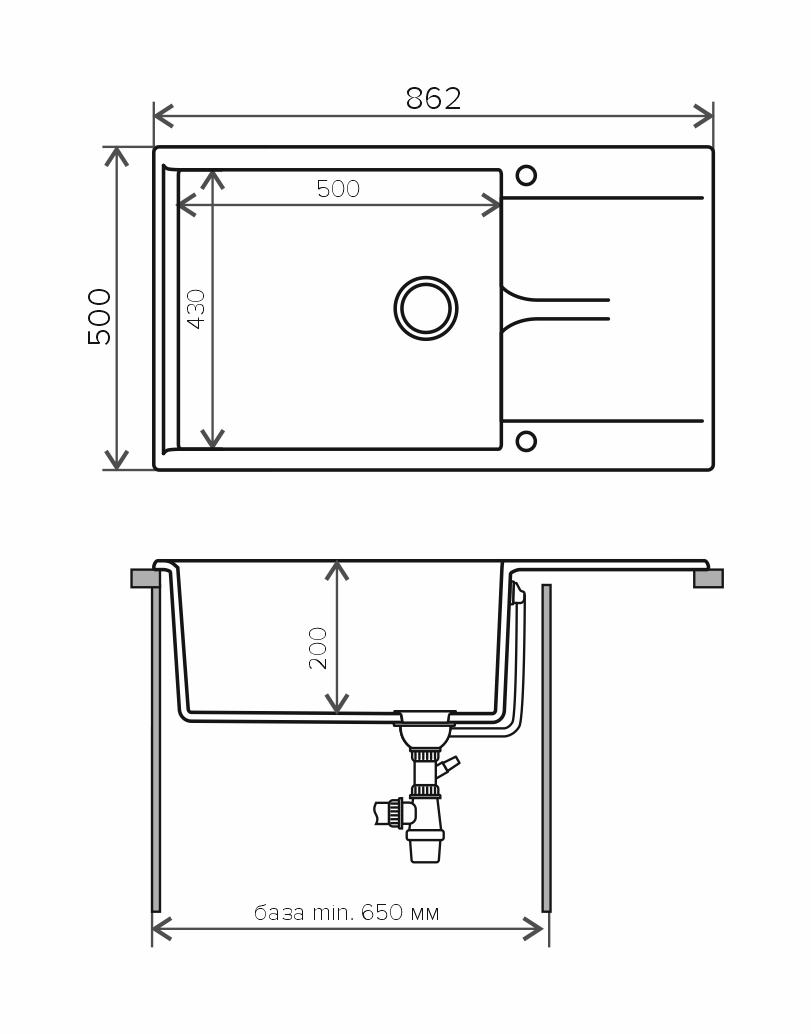 Кухонная мойка POLYGRAN Gals-862 (GALS-862 Хлопок №331)