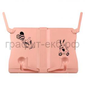 Подставка для книг Феникс+ Зайцы розовая АБС-пластик 26,8х19,5х11,2 см 56648