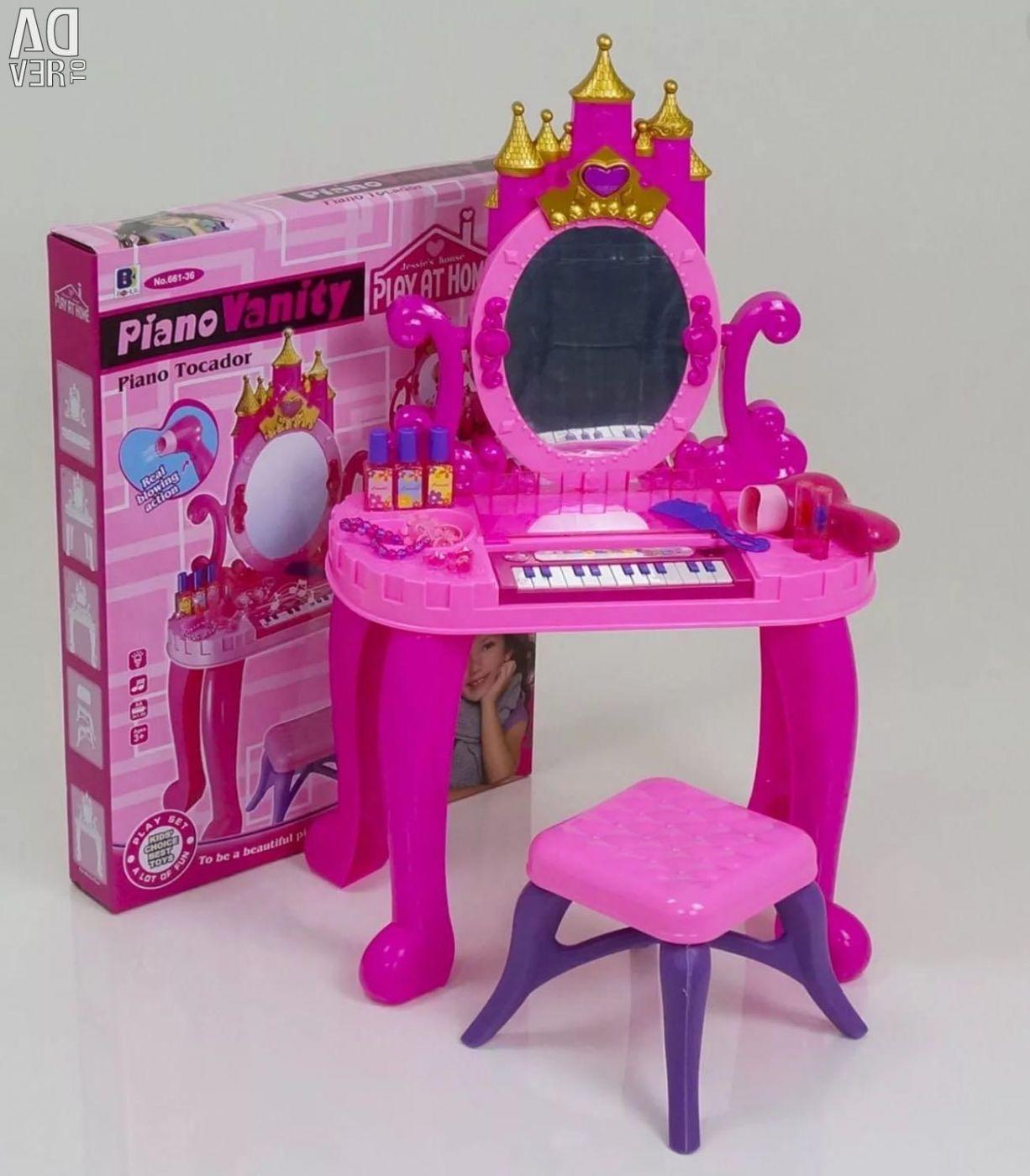 Детское трюмо туалетный столик со стульчиком и пианино