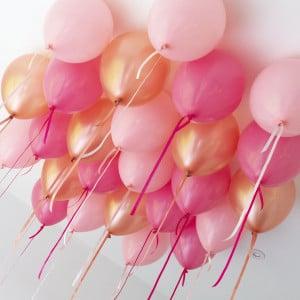 Шары под потолок 25 штук Розовые и Персик