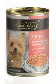 Edel Dog Нежные кусочки Влажный корм для собак 3 вида мяса, 400г