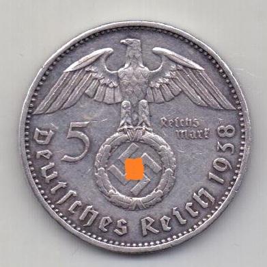 5 марок 1938 Германия AUNC- XF Гинденбург