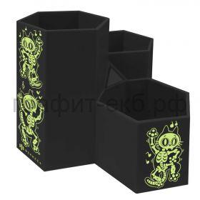 Подставка настольная Феникс+ Скелеты черная 3 отделения 11х11,5х12см 56566