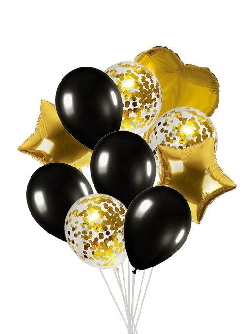 Набор шаров 10 шт,  черный, золотистый