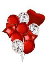 Набор шаров 10 шт,  серебро,красный