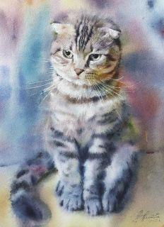 Postcard Watercolor cats 8