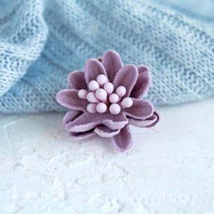 Лотос плотный тканевый, нежно-лиловый, 2 см.