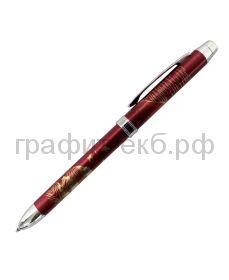 Ручка шариковая Penac Maki-E MOUNT FUJI синяя+красная+грифель0,5мм бордовая