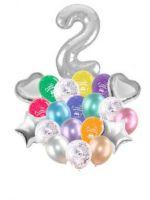 Воздушные шары набор «С Днем Рождения» с цифрой 2 серебро