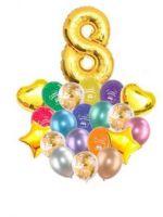 Воздушные шары набор «С Днем Рождения» с цифрой 8 золото