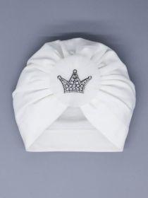 00-0027014  Чалма трикотажная для девочки, бант из фатина, корона, молочный
