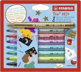 Фломастеры 8цв.Stabilo TRIO DECO металлик 377/8