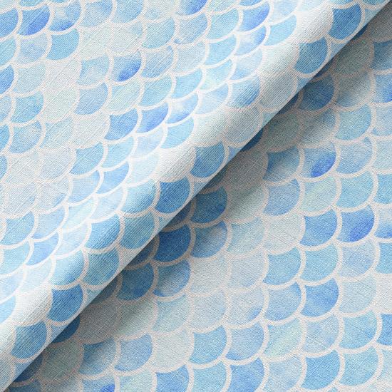 Хлопок Перкаль - Чешуйки на голубом 50х37
