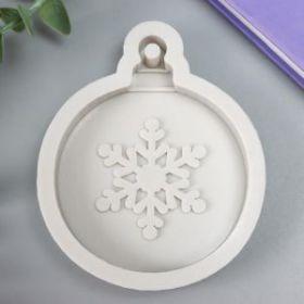 """Молд силикон """"Новогодний шар со снежинкой"""" 9х7,5х1,4 см"""
