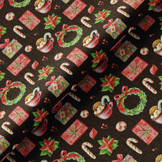 Хлопок Перкаль Рождественские угощения на черном 50х37