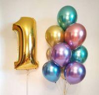 Композиция из воздушных шаров Хром с цифрой
