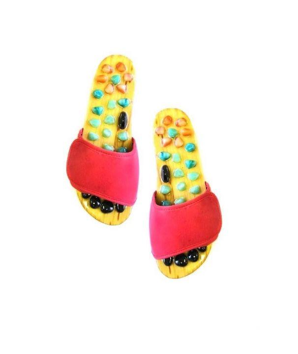 Красные массажные тапочки с нефритом, яшмой и турмалином - массажные тапочки с имитацией ходьбы по камням для акупунктурного массажа стоп, укрепления иммунитета, снятия усталости и стресса.