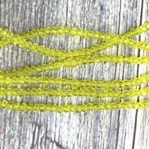 Бусины граненые Рондель (стекло) на нити цвет № 36 прозрачный лимонно-желтый Разные размеры (LSR-36)