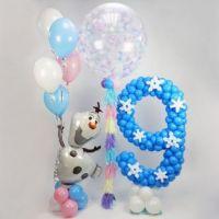 Цифра из шаров и фигурка олаф