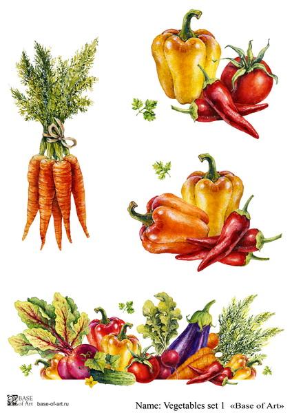 Декупажная карта Base of art, 20*30 см, Vegetables set 1