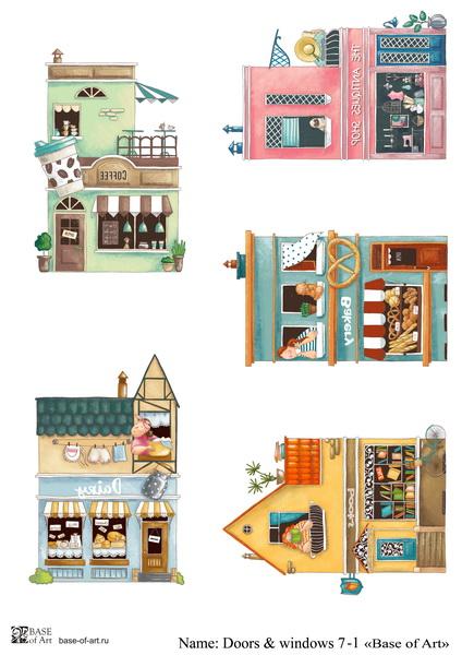 Декупажная карта Base of art, 20*30 см, Doors & windows 7-1