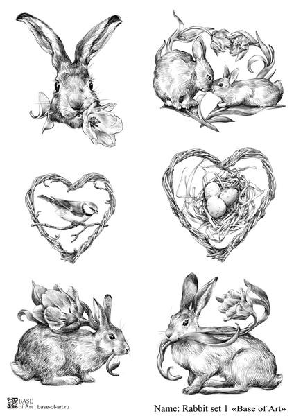 Декупажная карта Base of art, 20*30 см, Rabbit set 1