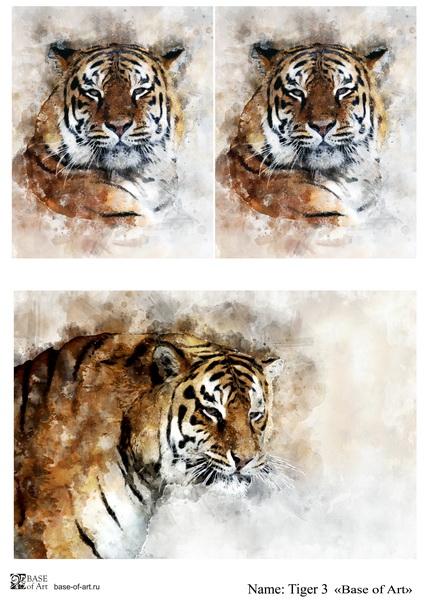 Декупажная карта Base of art, 20*30 см, Tiger 3