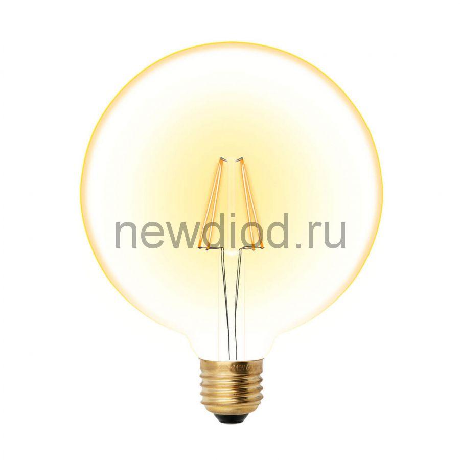 Лампа светодиодная LED-G125-8W/GOLDEN/E27 GLV21GO Vintage форма шар золотистая колба ТМ Uniel