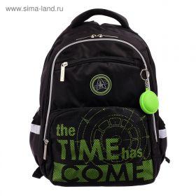 Рюкзак школьный с эргономичной спинкой Hatber Soft, 37 х 28 х 17, TIME, чёрный