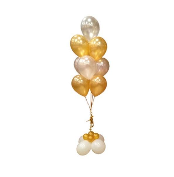 Фонтан из шаров 10 шаров золото и серебро