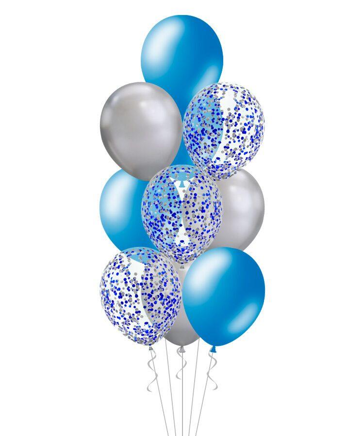 Фонтан из шаров синий с серебром