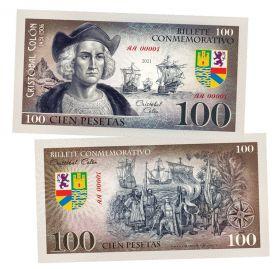 100 песет (Pesetas) — Испания. Христофор Колумб(Cristobal Colon). Памятная банкнота. UNC
