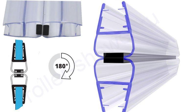 Угол 180 град. Уплотнитель для душевых кабин магнитный, для стекла(4,5,6,8,10мм)