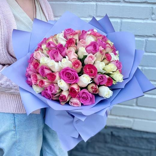 101 роза микс в упаковке (40см)