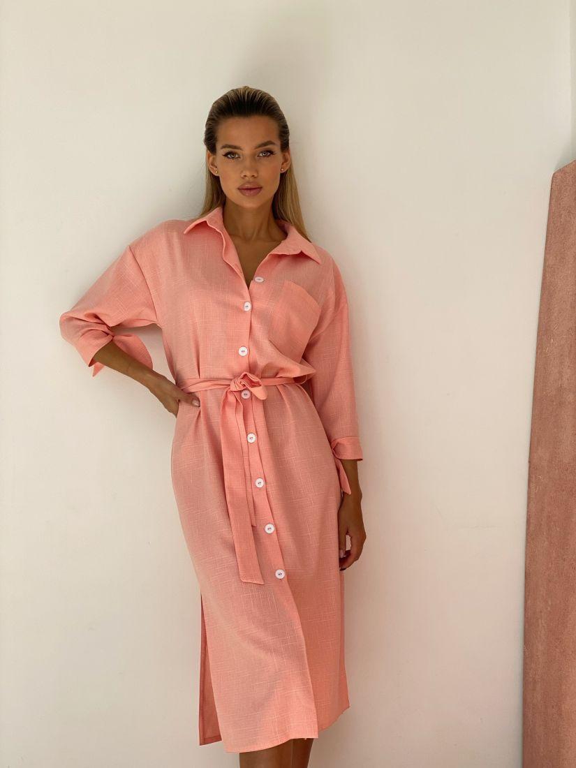 4442 Платье-рубашка в теплом розовом цвете