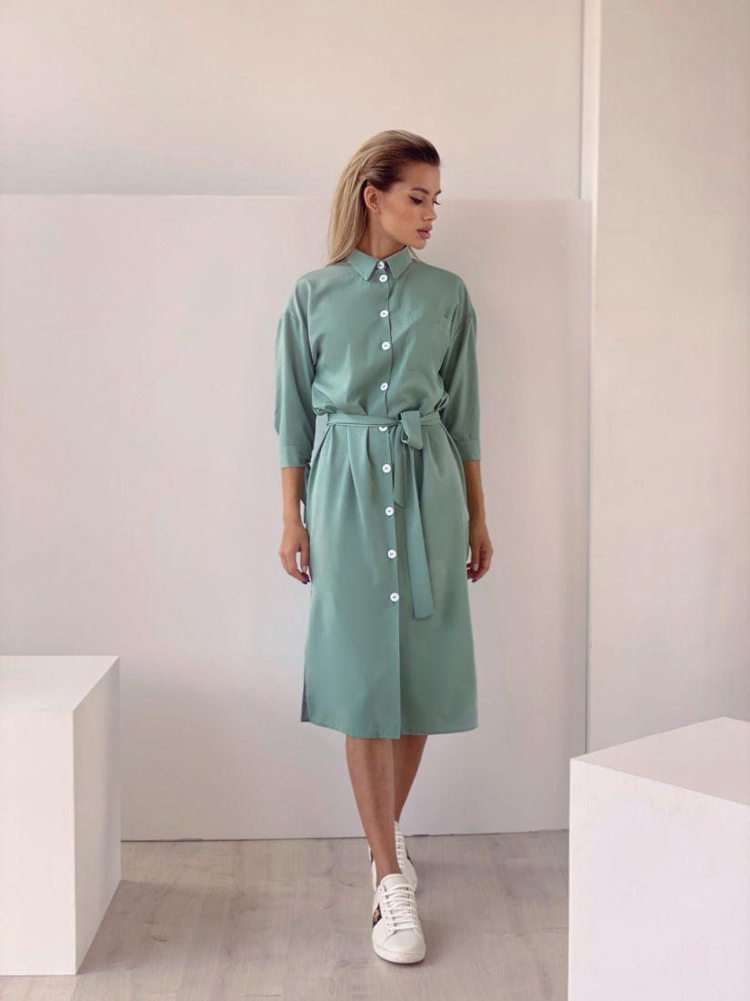 4443  Платье-рубашка фисташковое