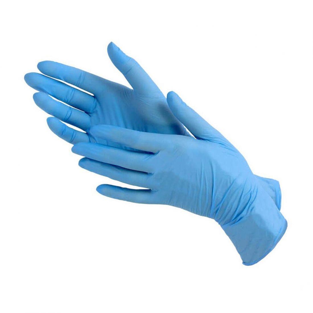 ПЕРЧАТКИ нитриловые голубые неопудренные, 50 пар, размер L