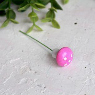 Аксессуар для кукол - Розовый гриб мухоморчик, 1,6 см.