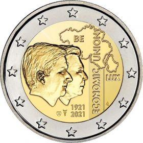 Бельгийско-люксембургский экономический союз.100 лет. 2 евро Бельгия 2021 (BU coincard) на заказ