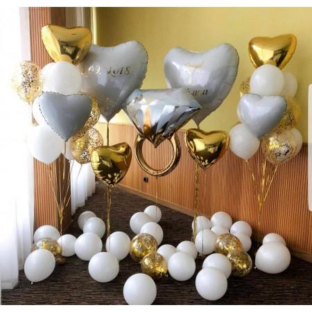 Бело-золотой свадебный набор шаров