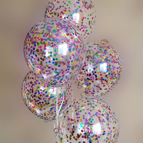 Шары с разноцветным конфетти 6  шт