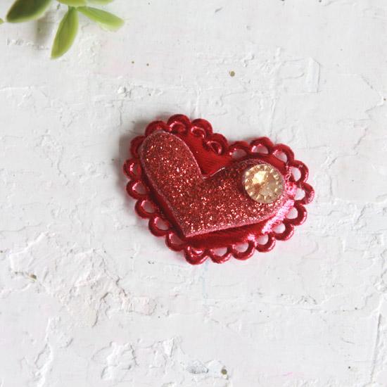 """Патч 3D, с декором """"Сердце красное"""" 3,7*2,5 см., 1 шт."""
