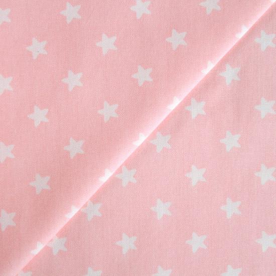 Хлопок -  Звезды белые на розовом с мягкими углами 50x40