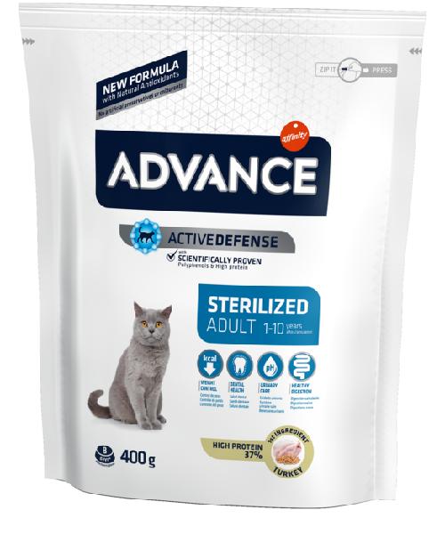 Сухой корм для стерилизованных кошек Sterilized с индейкой и ячменём 0.4 кг