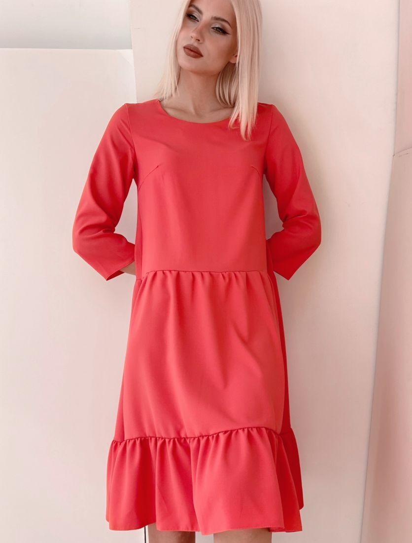 4463 Платье ягодное с ярусной юбкой