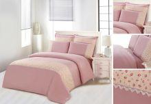 Комплект постельного белья  Сатин  с цветным кружевом  евро  Арт.SZV-007-3